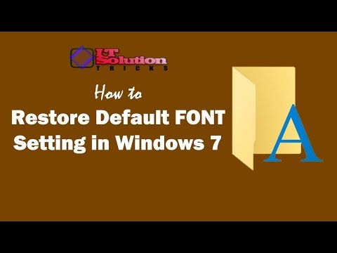 How to Restore Default System Font Setting in Windows 7