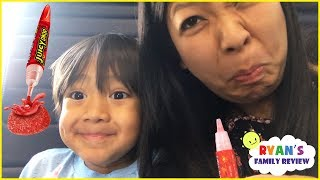 Sour Candy Challenge Kid on the Airplane Surprise Toys Opening with Ryan