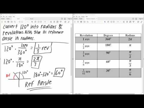 PreCal: Convert degree to revolutions and radians (Solved by Hand)