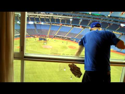 Catching a baseball inside the Rogers Centre hotel