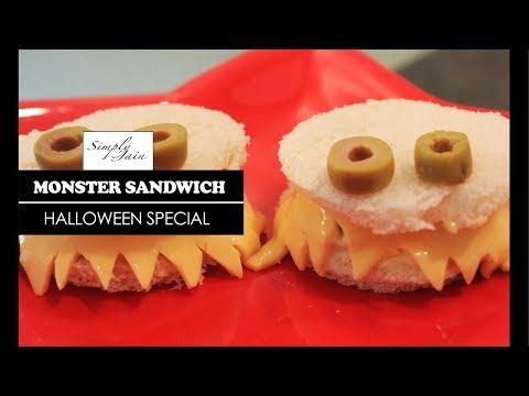 Monster Sandwich | How To Make Easy DIY Halloween Snack |  Simply Jain
