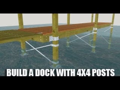 Building a dock with wood posts 3D animation