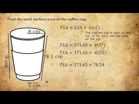 Lateral Area, Total Area, and Volume of a Coffee Cup