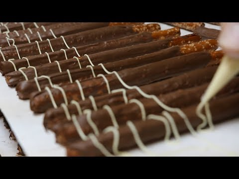 Chocolate Covering Fancy Pretzel Rods
