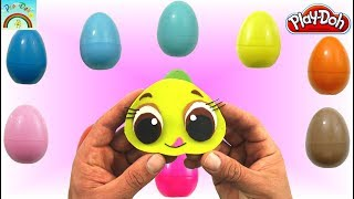Play Doh Colors Surprise Eggs opening  (cute bee eating honey)