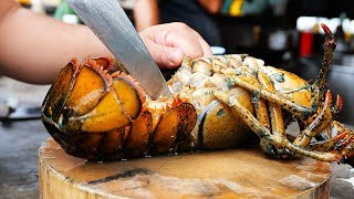 Thai Street Food - GIANT LOBSTER Egg & Cheese Sauce Bangkok Seafood Thailand