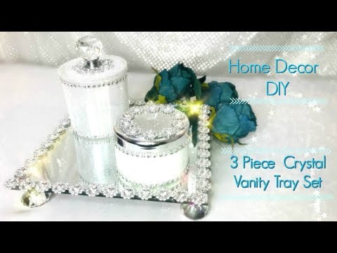 How To Make 3 Piece Crystal Mirror Vanity Tray Set From Trash