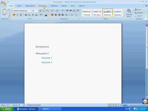 Microsoft Word 2007 - Table of Contents