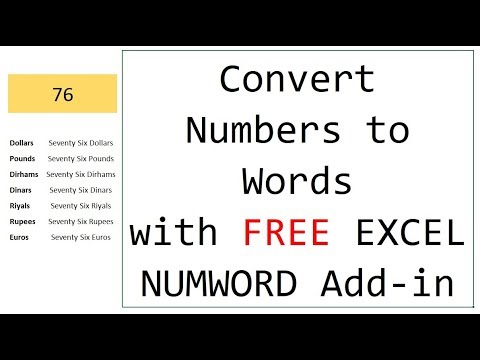 Convert Numbers to Words in Excel - Free NUMWORD Add-in [Download/installation link in description]