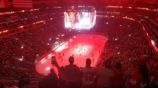 Red Wings introduced to the ice in first ever game at Little Caesars Arena.