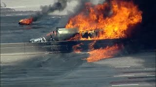 Massive vehicle fire closes I-25 in Denver Tech Center