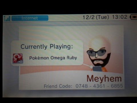 New Friend Code (IGN- Meyhem) for BOTH Omega Ruby and Alpha Sapphire