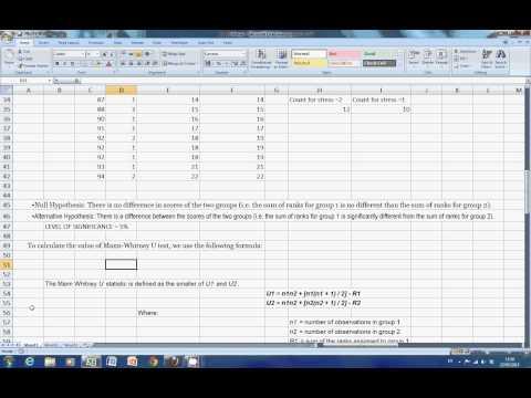 MannWhitney U test in Excel