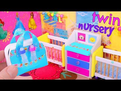 DIY Miniature Twin Nursery Room: a crib, diaper bag, etc.
