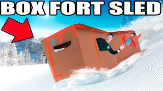 WORLDS BIGGEST BOX FORT SLED CHALLENGE!! 📦❄️ Jumps, Stunts & More