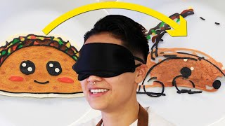 Pancake Artist Tries Making Pancake Art Blindfolded • Tasty