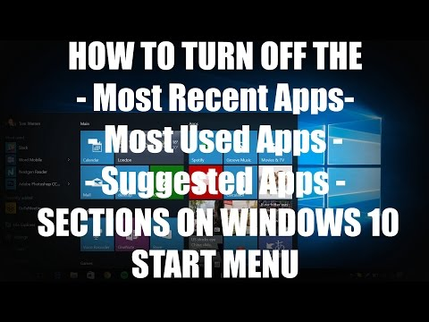 HOW-TO: Turn Off Suggested - Most Used - Recently Added Apps section on Windows 10 Start Menu