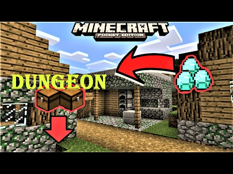 MCPE 1.0.0 - DIAMOND ZOMBIE VILLAGE WITH DUNGEON NEAR SPAWN SEED | 2 VILLAGES | MINECRAFT PE 0.17.0