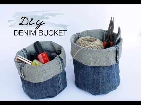 DIY Upcycled Denim Bucket