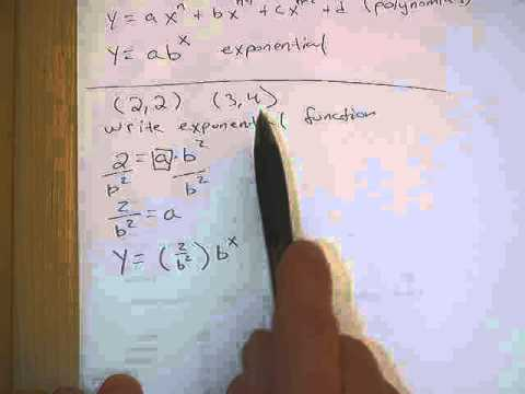 Writing an exponential function given 2 points.