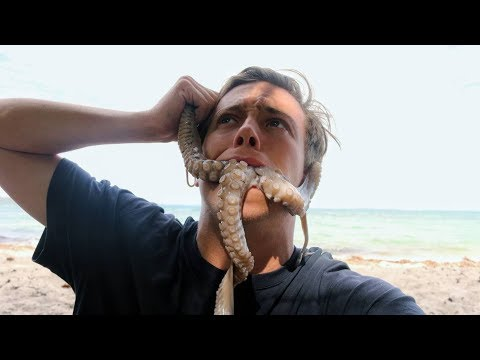 Eating a Giant Octopus! - Cooked on a deserted Island