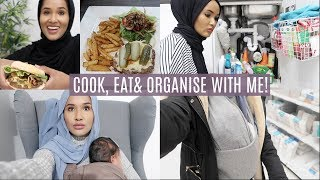 HUBBY COOKS, EAT WITH ME+ LETS ORGANISE MY CLEANING CUPBOARD| Zeinah Nur
