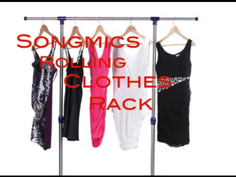 Songmics Rolling Clothes Rack Adjustable Garment Rack Portable Hanging Rack