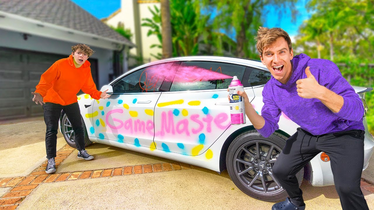 TESLA Destroyed!! (Paint Prank on Best Friends Car)