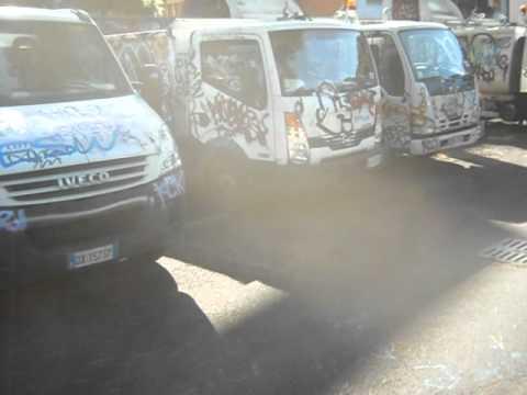 graffiti, rome, italy, trucks