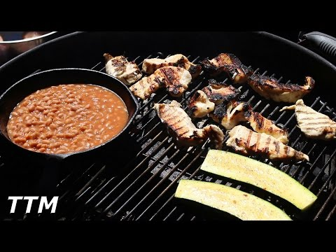 Hot and Fast BBQ Chicken Breast, Zucchini, and Pork and Beans on the Weber Kettle Grill