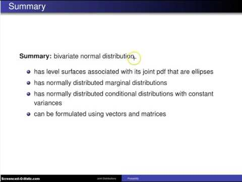 Bivariate normal distribution summary