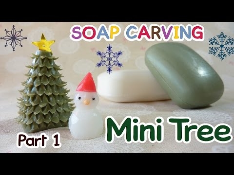 SOAP CARVING | Easy | Christmas Tree| Miniature Winter Garden|Part 1|DIY