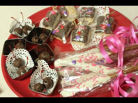 Chocolate Dipped Pretzels, Rice Krispies & Maraschino Cherries for Valentine's Day