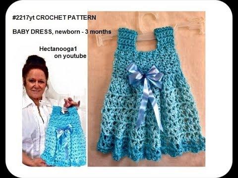 CROCHET BLUE BABY DRESS, #2217yt,  Newborn to  3 months, Red Heart Ombre yarn