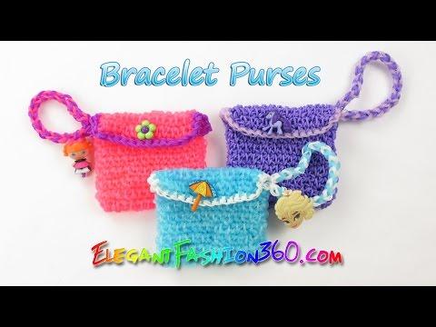 Rainbow Loom Elsa's Bracelet Purses - How to Loom Bands Tutorial