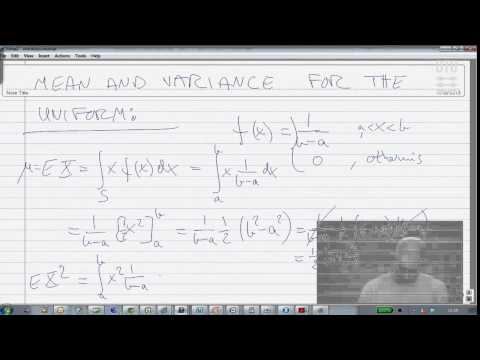 Extra Math Lecture 3: Mean and Variance for the uniform distribution