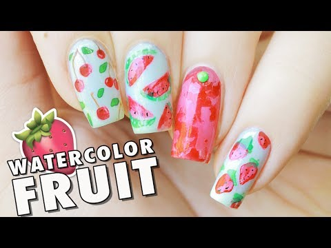 Abstract Watercolor Fruit Freehand Nail Art | Cherries, Watermelon & Strawberries