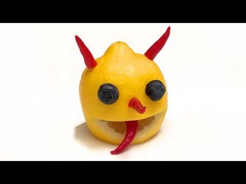 How to Make a Little Lemon Devil / Food Art, Party Idea, Cooking Tricks