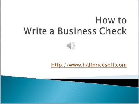 How to write a business check