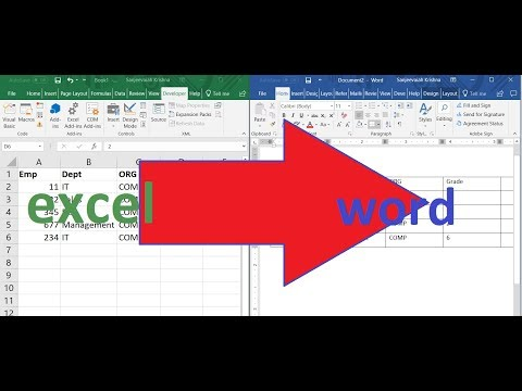 Copy excel data to MS word table