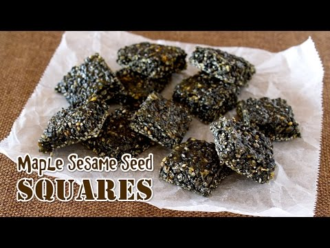 Gluten-Free Maple Sesame Seed Squares (2 Ingredients) メイプル黒ごまおこしの作り方 - OCHIKERON - CREATE EAT HAPPY