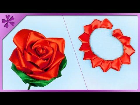 DIY How to make kanzashi ribbon rose (ENG Subtitles) - Speed up #473