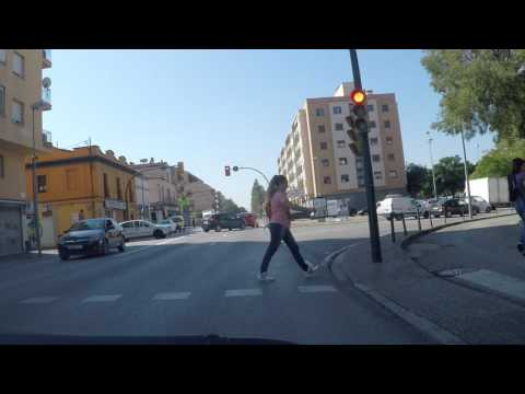 Spain by Road - Girona City Centre - exit southbound