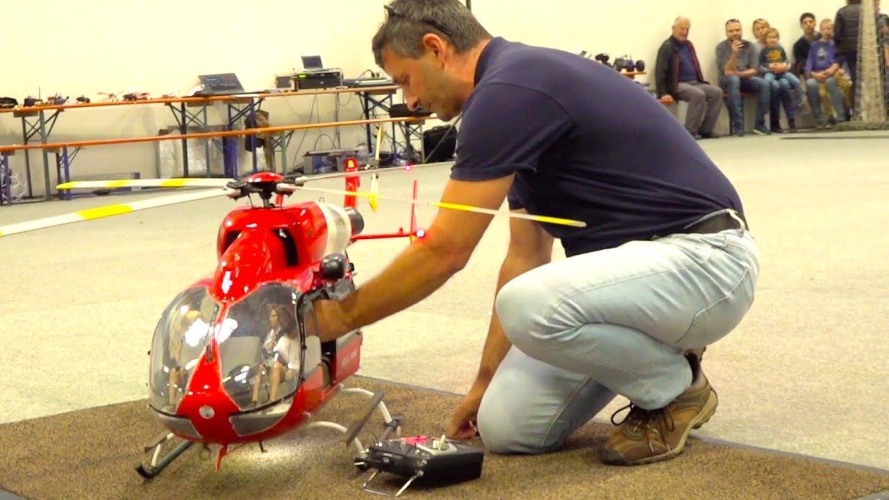 SUPER BIG RC TURBINE HELICOPTER INDOOR FLIGHT I EC-145 RESCUE HELI I MESSE RIED