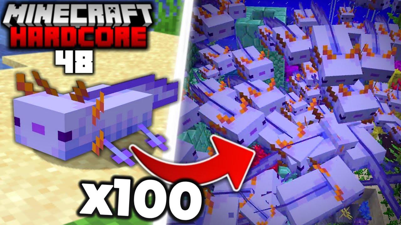 I Found 100 of the RAREST Axolotl in Minecraft Hardcore (#48)