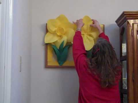 3D Paper Daffodil Flower for School Bulletin Boards Created with Staple Gun