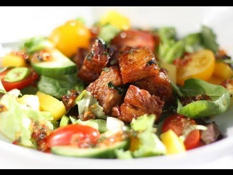 How to Make Awesome Sticky Caramel Pork Belly Salad