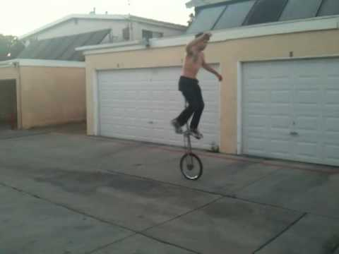 Riding a 5 Foot Unicycle Backwards