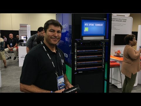 VMworld 2017 US - at Intel, Juan Fernandez shows NVMe SSDs, Ruler & Optane P4800X in PCIe & U.2