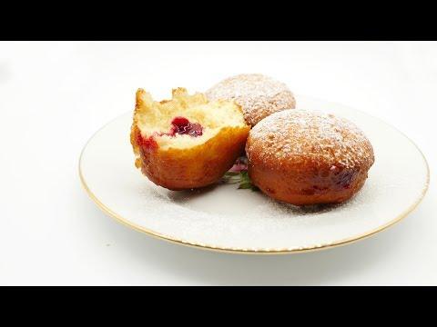Mini-Berliner with raspberry jam/ jelly donuts German recipe #38 德國甜甜圈